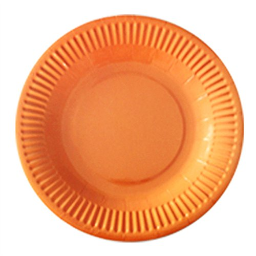 (Hacoly 10er rund Pappteller bunt einweggeschirr hochwertig Einwegteller eckig Papierbesteck umweltfreundlich biologisch abbaubar kompostierbar für kindergeburtstag Party Hochzeit - 7 Zoll Orange)