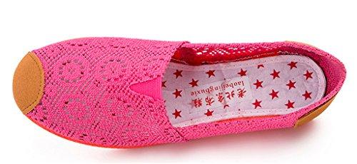 NEWZCERS Arbeiten Sie beiläufige Segeltuch Blumepumpen Ebene Schuhe für Frauen um Stieg rot