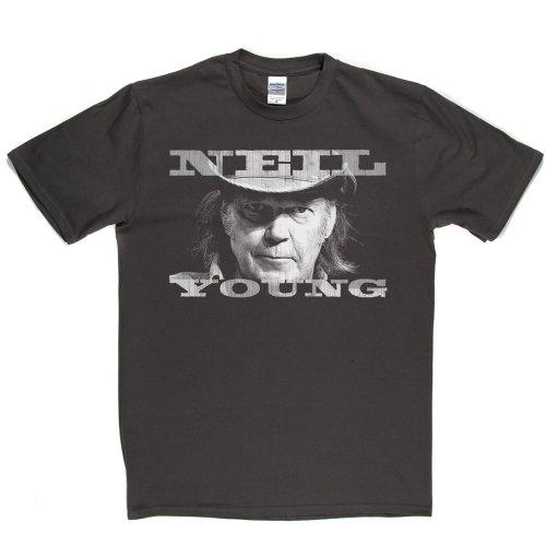 Neil Young Portrait Canadian 1960s 60s Singer T-shirt Grau