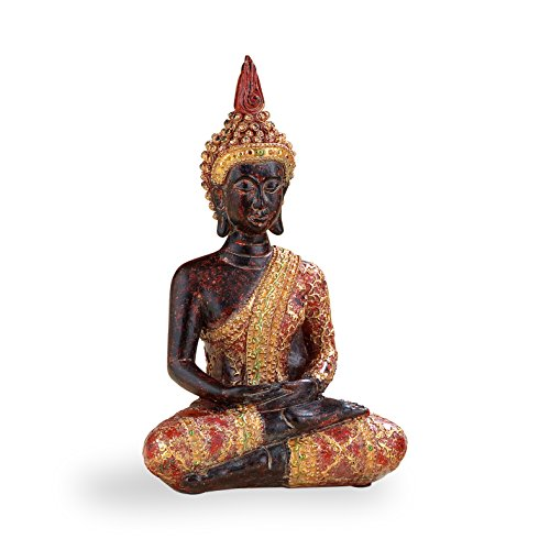 Pajoma 48374 meditating Buddha Decoration with red - Goldener Robe, H 18 cm