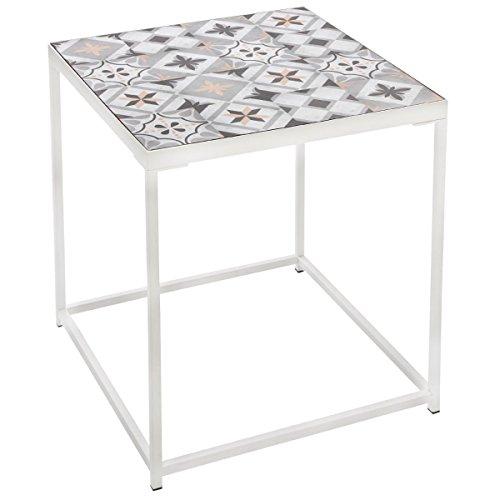 Atmosphera Table Basse Guéridon avec Plateau Aspect Carreaux de Ciment -Style Rétro - Coloris Gris