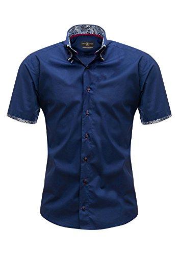 Giorgio Capone Herrenhemd, blau, Doppelkragen, Paisley-Muster, Kurzarm, Slim & Regular Fit (S Slim) (Kurzarm Hemden Paisley)