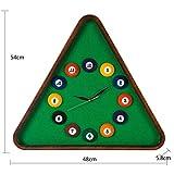 Hard Bone Reloj de Pared Mesa de Billar Pelota Creativa Personalidad Dormitorio Infantil de plástico Reloj de Cuarzo silencioso (Verde 54 * 48 * 5.8 cm Embalaje de 1)