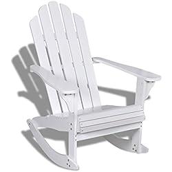 vidaXL Mecedora de Madera Blanca muy elegante para sala de estar, patio y jardín
