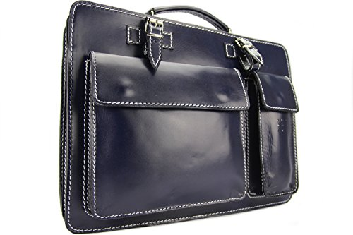 Business- und Laptoptaschen Italienische Luxus Aktentasche L (Rot) Blau