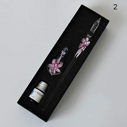 ZREAL Flower Glass Dip Pen Kunst 3D Feder Transparent Farbe Firma Set S-2