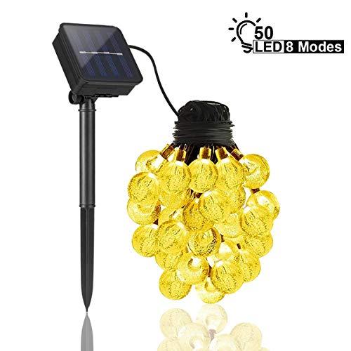 qomolo catena luminosa led solare esterno luci per esterni di 7 meter 50 led crystal globe impermeabile ip65 luce esterno ideale per decorazioni di feste, vacanze, cortili, pergole