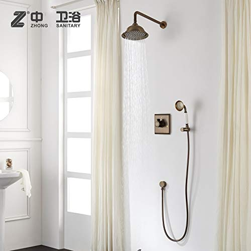 Antique brass Solid brass bathroom wall mounted shower faucet square Cold and hot water mixing valve shower set,Black -