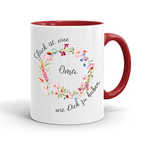 True Statements Oma Tasse Glück ist eine Oma wie dich zu haben - Kaffee-Tasse mit Spruch - Geschenk für Oma/Großmutter, inner red