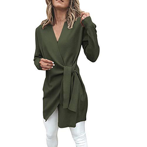 Preisvergleich Produktbild Yvelands Damen Suit Jacket Mantel Leder gebunden V-Ausschnitt Open Front Outwear (EU-32 / S, Armeegrün)