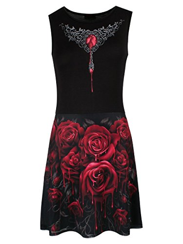 Spiral-Le donne-Blood Rose Ao-Maglia Layered Midi Skater Dress Black Small