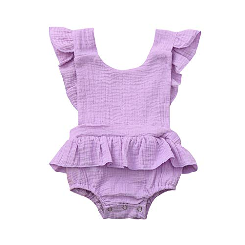 Strampler Overall Kleidung Kleider Pwtchenty EIN Schulter-Blatt RüSchen Blatt Druck Kinder MäDchen Party Freizeit Bodysuit Top ()