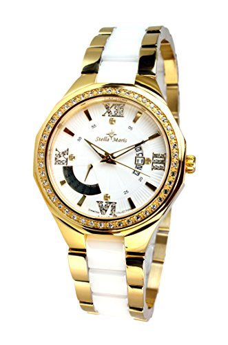 Stella Maris STM15Y7 -Women's Watch - White Watch Dial - Analog Quartz - White Ceramic Bracelet - Diamonds - Swarovski Elements - Stylish - Classy