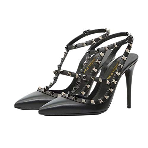 Caitlin Pan Damen Riemchen Sandaletten mit Doppelschnalle Dünnes Nieten Kleid Pumps Nieten