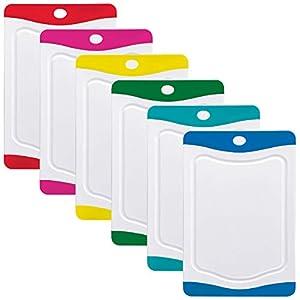 Rosenstein & Söhne Schneidbretter: 6er-Set Schneidebretter in 6 Farben, antibakteriell, je 20 x 15 cm (Frühstücksbrettchen)