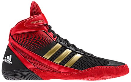Adidas Wrestling Response 3.1 Wrestling chaussures, noir / argent métallisé / noir, 5 M Us Black/Collegiate Red/White
