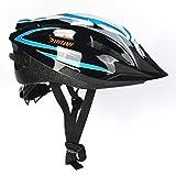 Fahrradhelm Erwachsener Fahrrad Sturzhelm Reithelm Mountainbike Helm mit LED Lampe Lila Blau und Rot Farbe, L (58-62cm) Y-20 (Blau Schwarz)