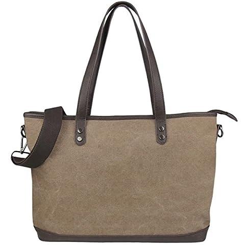 L.S. Risunup Women's Canvas leatherTop Handle Shoulder Bag Tote Shopper