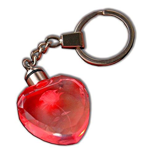 Schöne Kristall-LED-Licht Charm Herz mit Rose innen Schlüssel Kette Geschenk