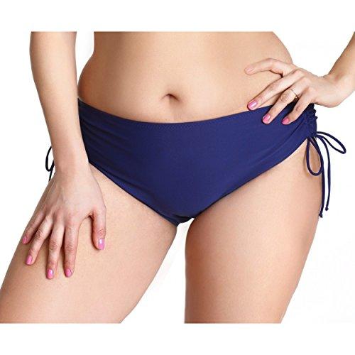 Aquarti Damen Bikinihose mit Raffungen Bikinislip Panty Dunkelblau