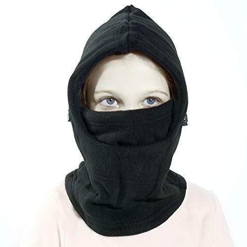 Richoose copertura antivento maschera protezioni dei bambini inverno fronte caldo di copertura dello scaldino del collo cappello del pattino esterno di inverno sci maschera headcover, nero