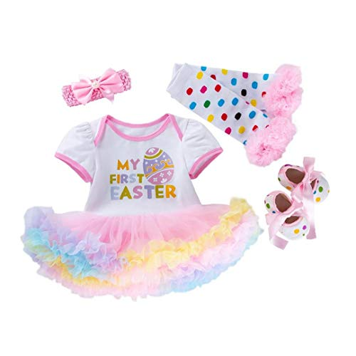 BRAVOLUNE Baby-Ostern Outfit Ostern Set Outfit Set Für Baby-baby-rosa-73cm 4pcs Tutu-Kleid-Baby Ostern Outfits