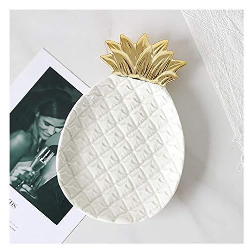 AXROAD MALL Ananas-Form-Keramik Dekorative Tablett, Schmuck Dish Home Decor Mittelplatte Organizer for Halskette Ohrring-Armband Cosmetic Obst Dessert (Color : White)