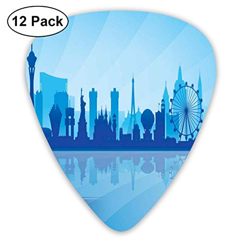 Celluloid Guitar Picks - 12 Pack,Abstract Art Colorful Designs,Silhouette Of An American City With Various Landmarks Nevada Downtown,For Bass Electric & Acoustic Guitars.
