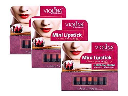 Violina 100% Vegetarian Natural Mini Lipstick For Women 7 Shades (Pack Of 3)
