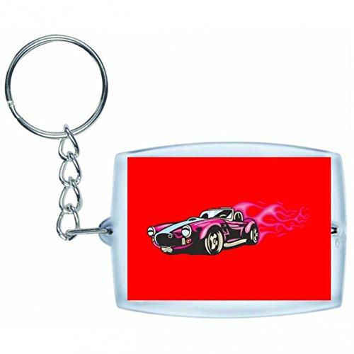 'Llavero 'Rosa Hotrod Cabrio llamas America Amy Estados Unidos Auto Car Lujo de ancho diseño V8V12Motor Llanta Tuning Mustang Cobra en blanco y negro de color azul de rosa de amarillo de color rojo de verde | Keyring–Funda colgante–Mochila colgante–Llavero, rojo