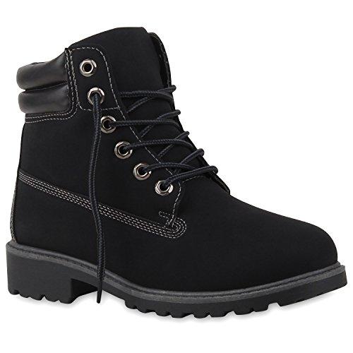 Kostüm Holzfäller Schuhe (Damen Stiefeletten Outdoor Boots Warm Gefütterte Stiefel Schuhe 125412 Schwarz Amares 39 |)