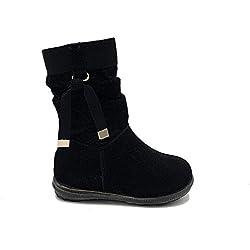 Shoes scarpe bimba bambina neonata primi passi stivaletto autunnali invernali sportive alla caviglia strette casual comode con cerniera scamosciate colore nera numero 19