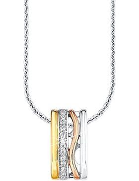 S.Oliver Damen-Collier Silber vergoldet teilvergoldet Zirkonia weiß 50872