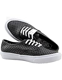 8fc13de8e2 Vans Men s Authentic Slim Round Toe Canvas Sneaker Shoe Black Perf Stars 5  B(