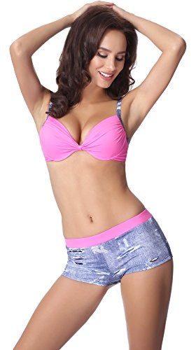 aQuarilla Damen Bikini Set AQ124 Blau Jeans/Rosa