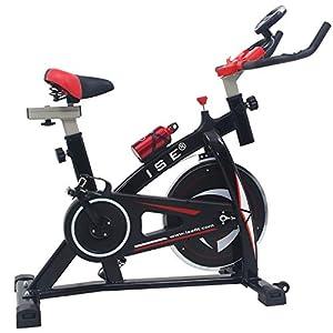 ISE Profi Indoor Cycle Ergometer Heimtrainer mit LCD Anzeige,Armauflage,Pulsgurt&gepolsterte,13kg Schwungrad,Fitnessbike Speedbike mit flüsterleise Riemenantrieb-Fahrrad Ergometer bis 150Kg