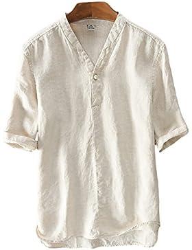 Icegrey Hombre Camisa De Lino De Manga Corta Casual T-Shirt Camisas De Verano Con Cuello V