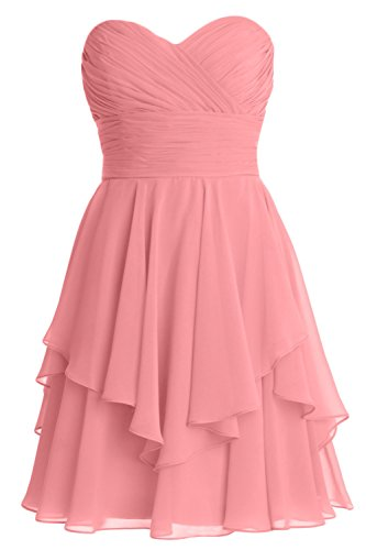 MACloth Women Short Wedding Party Bridesmaid Dress Strapless Tiered Cocktail Blush Pink