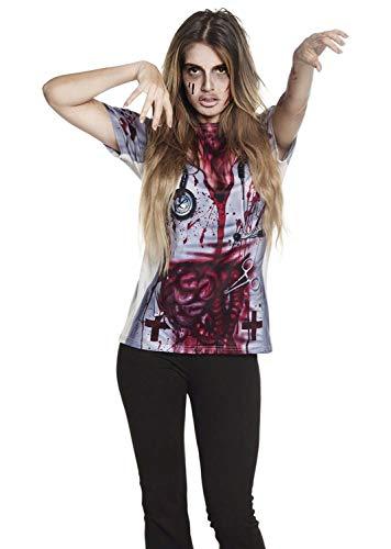 Boland 84324 Fotorealistisches Shirt Horror Krankenschwester Gr. M/L, Damen, mehrfarbig,