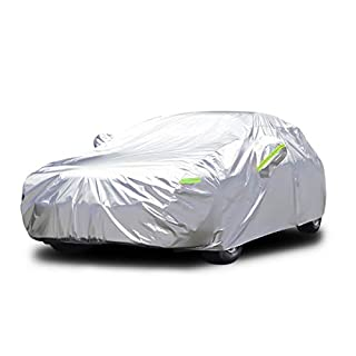 YIBEICO Sedan Car Cover Waterproof Rain Dust Sun UV All Weather Waterproof Protection with Cotton Zipper for Automobiles Indoor Outdoor Fit Sedan(485 * 190 * 147 cm)