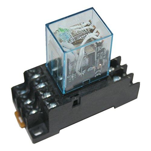 Preisvergleich Produktbild Hutschienenrelais Hutschienensockel Relais mit roter LED 4 Wechsler 110V (0003)