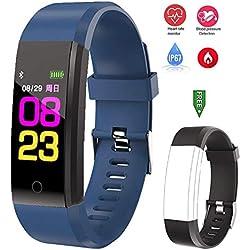linyingdian Reloj Inteligente de Actividad, Reloj rastreador de Monitor de Ritmo cardíaco con Monitor de sueño, podómetro, Contador de calorías, Adecuado para niños y niñas(Azul Oscuro)