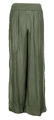 Damen Italienisch Lagenlook Quirky Layering Plain Seide Flap Taille Puffball Style Harem Hosen Leggings Jogger Hosen Loose Baggy One Size Plus (Eine Größe 36-48, Khaki) (Pant Plain Khaki Front)