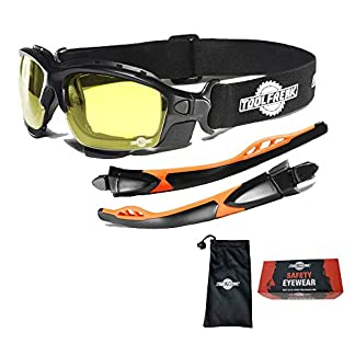 Gafas protectoras de diseño «spoggles» de primera calidad ToolFreak | La combinación perfecta de gafas de seguridad y gafas de diseño | Acolchadas con espuma | Gafas protectoras elegantes | Antiarañazos |Antiempañamiento | Protección UV del 99,9% | Adecuadas para el sector profesional, los deportes y las actividades al aire libre