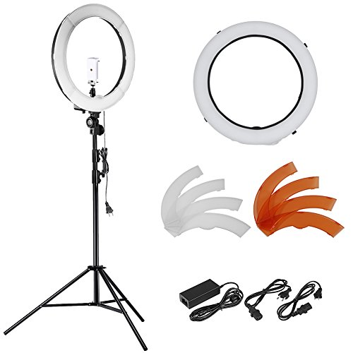 Neewer 18 Zoll 55W LED 5500K Dimmbare Ringlicht Set enthält: SMD-Ring-Licht + 113-260 cm Lichtstativ + Stativbefestigung + Diffusor +...