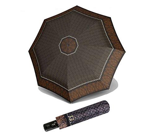 doppler Regenschirm Taschenschirm Victoria Magic Carbonsteel Duomatic sturmsicher schwarz braun