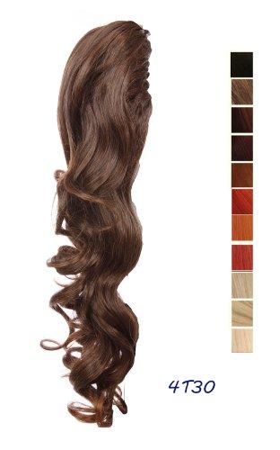 Prettyland - DH254 60cm Klammer gewellt Pferdeschwanz Zopf Haarverlängerung Haarteil- 4T30 braun und schwarzbraun gemischt