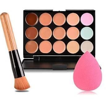 Boolavard New 15 Colours Contour Face Cream Makeup Concealer Palette + Powder Brush + Pink Sponge Puff
