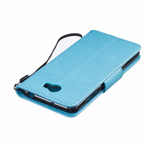LEMORRY Huawei Y5 2 Custodia Pelle Cuoio Flip Portafoglio Borsa Sottile Fit Bumper Protettivo Magnetico Chiusura Standing Card Slot Morbido Silicone TPU Case Cover Custodia per Huawei Y5 2 (Huawei Y5I blu
