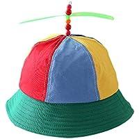 JIACUO Niños Niños Helicóptero de algodón Hélice Bucket Cap Color Block Patchwork Libélula con Cuentas Verano Protección Solar Sombrero de Pescador